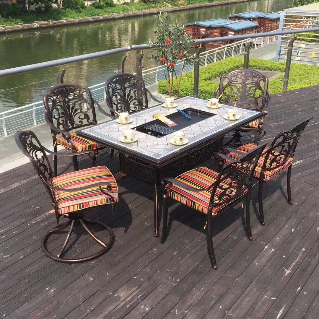 广州市番禺区工厂直销铸铝套装桌椅宜家家具价格