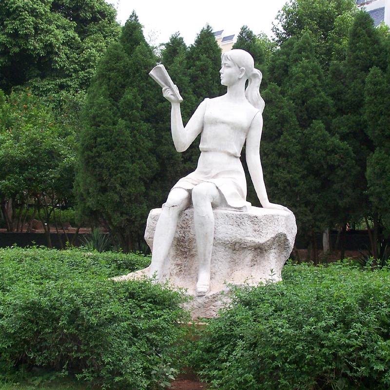 天然石材 创意人物雕塑 读书女孩雕塑 校园文化主题 公园学校景观