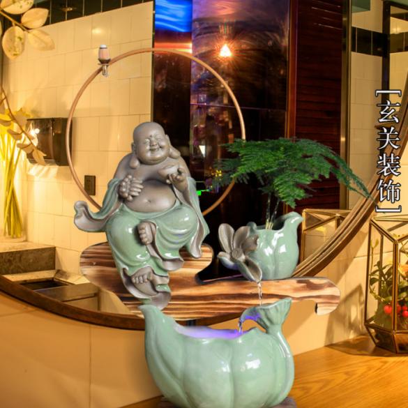 供应 创意陶瓷喷泉流水桌面摆件 招财客厅办公装饰品家居倒流香佛像