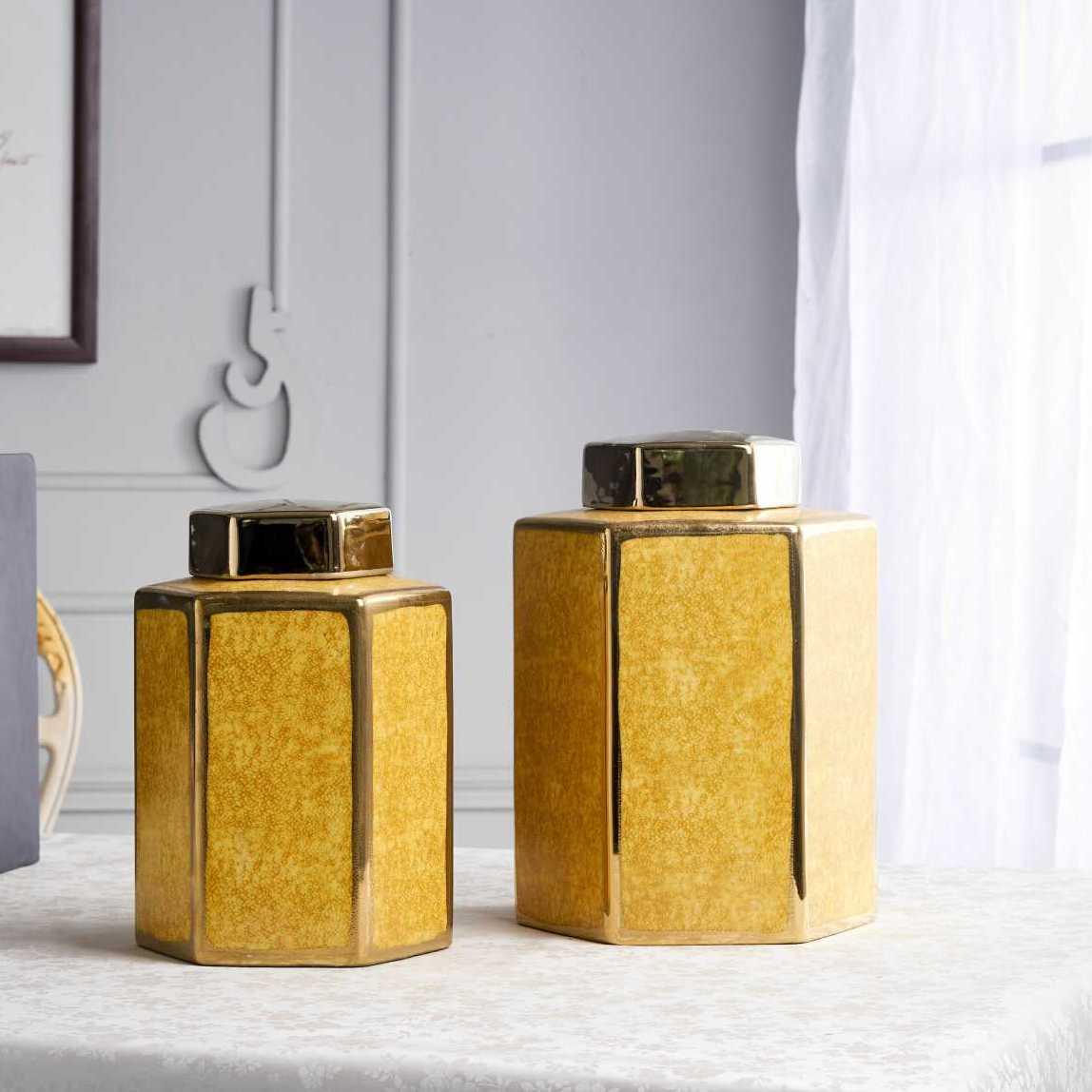 景德鎮新中式鍍金蛇皮紋陶瓷罐擺件