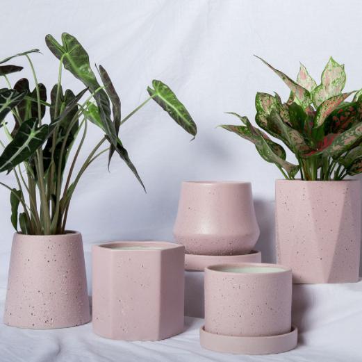 供应 花盆厂家创意磨砂摆件工艺品 粉色多肉花盆 陶瓷装饰 陶瓷小花盆 套装