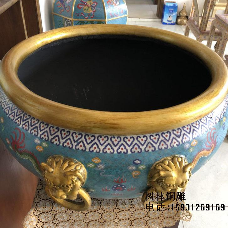 景泰蓝纯铜缸掐丝珐琅鎏金 现货 狮头耳铜缸水缸铜器树林铜雕