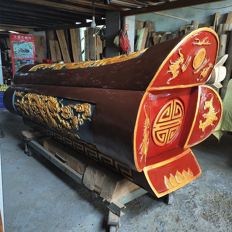 柳州香樟木棺材现货精雕龙风呈祥包送